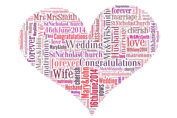 wedding word art heart shape