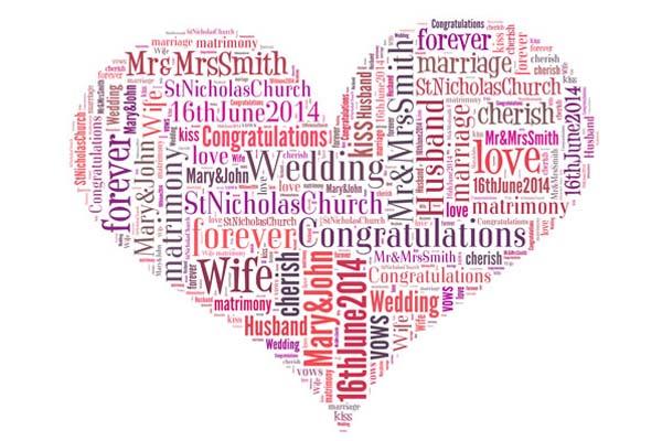 wedding word art heart shape