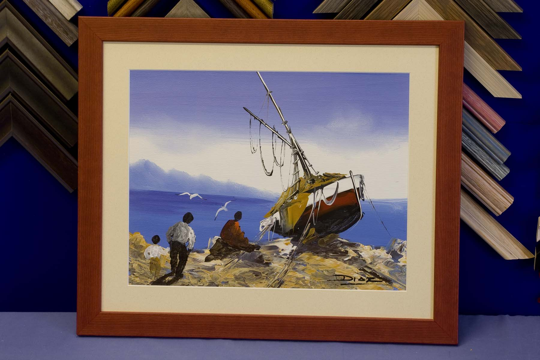 boat painting in frame