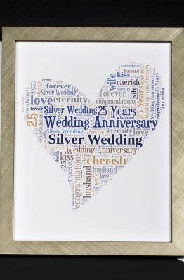 Silver Wedding Anniversary Word Art Heart