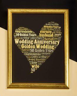 GOLDEN WEDDING WORD ART