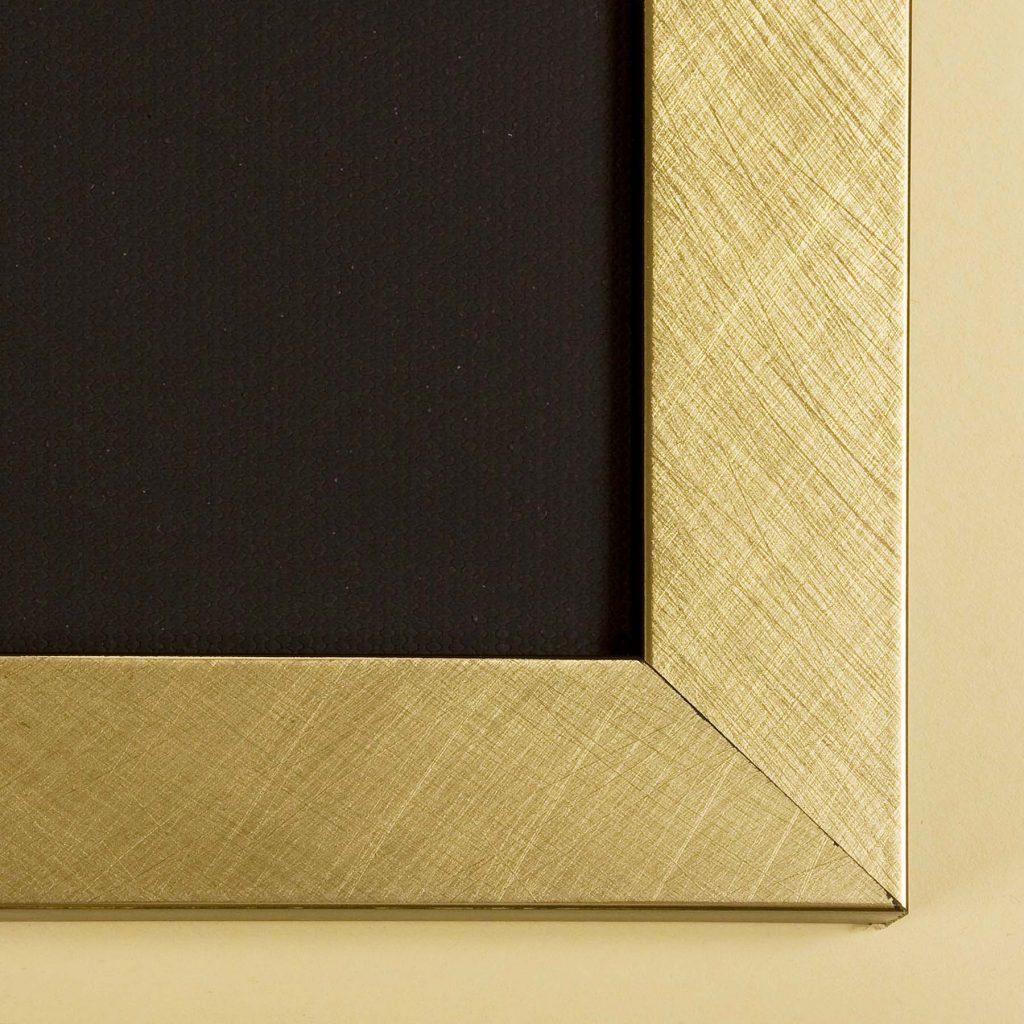 close up of brushed gold frame