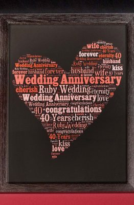 Ruby Wedding Anniversary Word Art Heart
