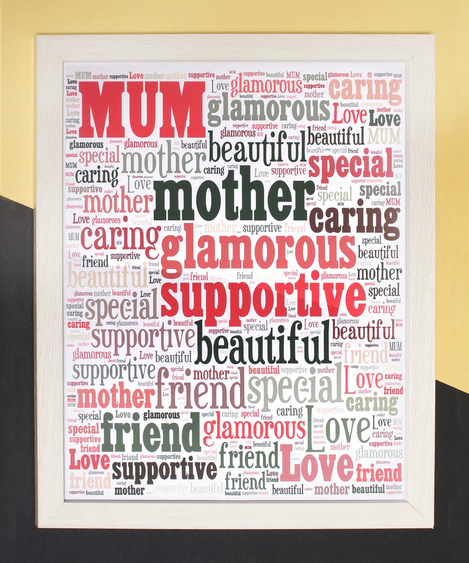 Mum Word Art Rectangular - Driftwood Brown