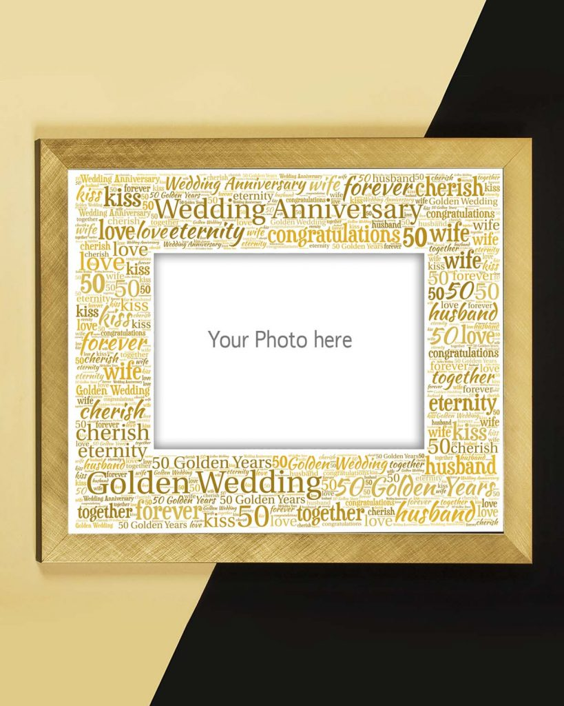golden wedding anniversary mount and frame