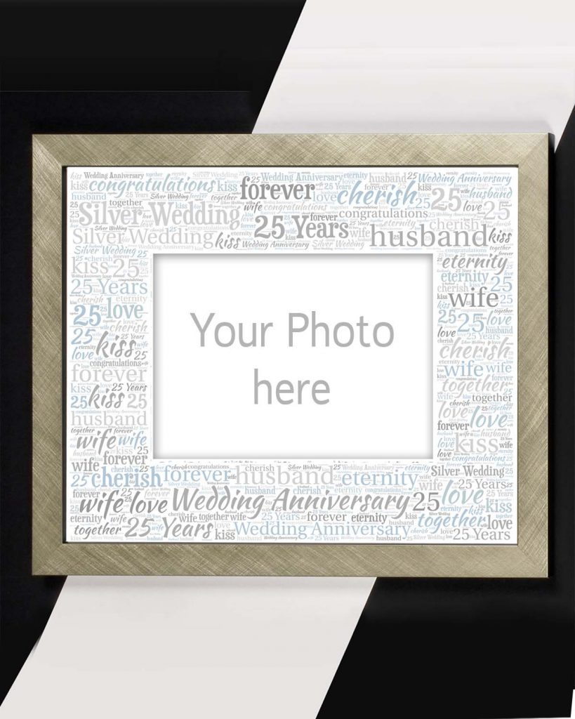 Silver wedding anniversary mount and frame