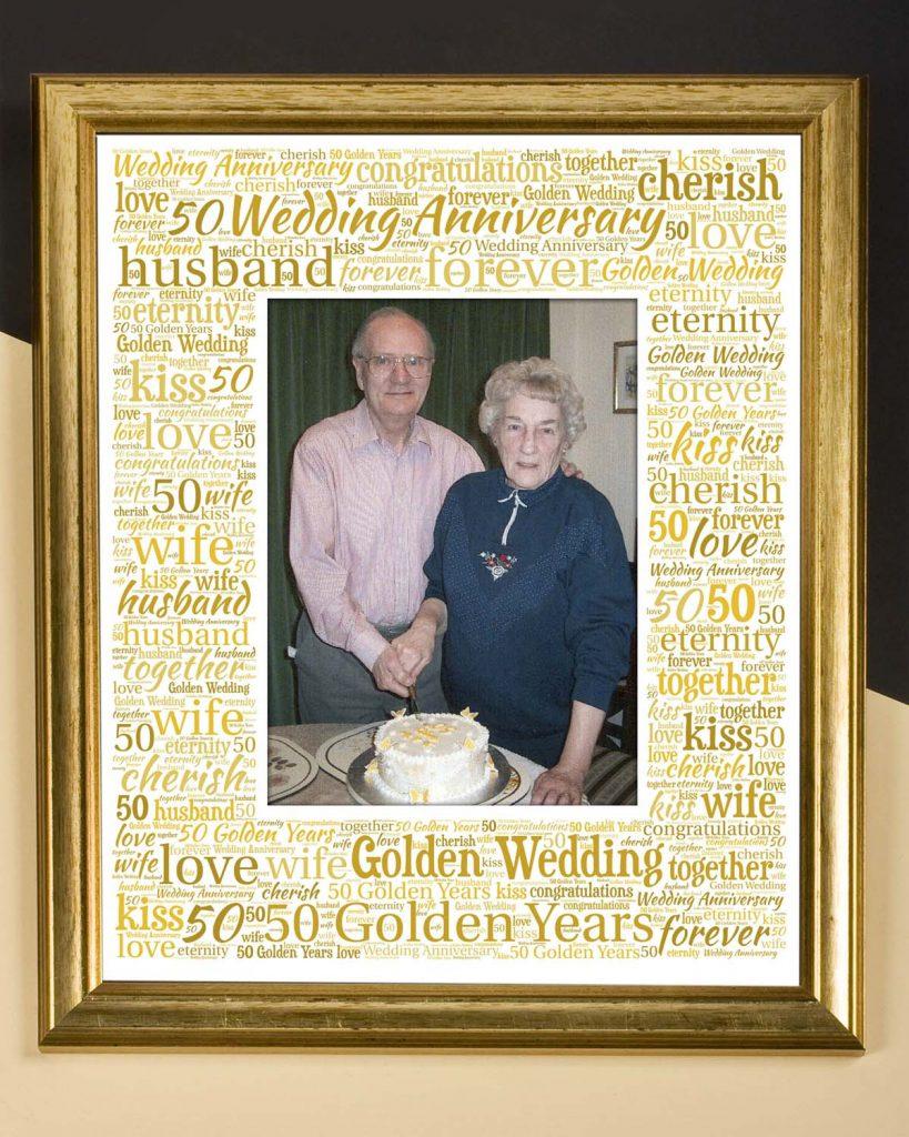 golden wedding picture frame