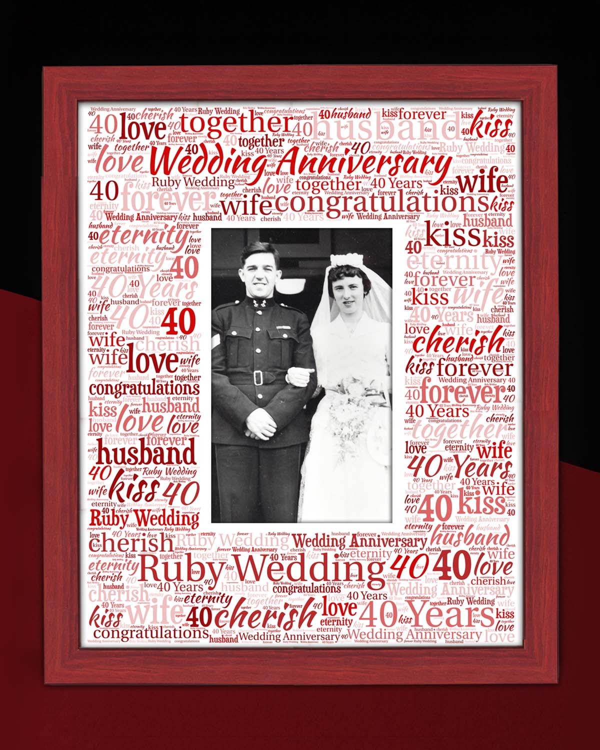 Ruby Wedding Anniversary Personalised Word Art Mounts Photoworx