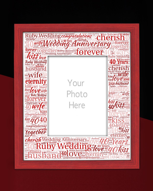 Ruby Wedding Anniversary personalised word art mounts - PHOTOWORX