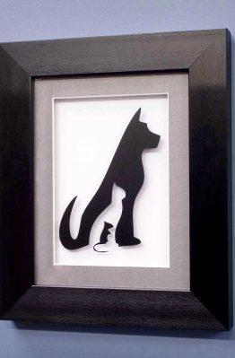 Dog, Cat, Mouse Line Design Black