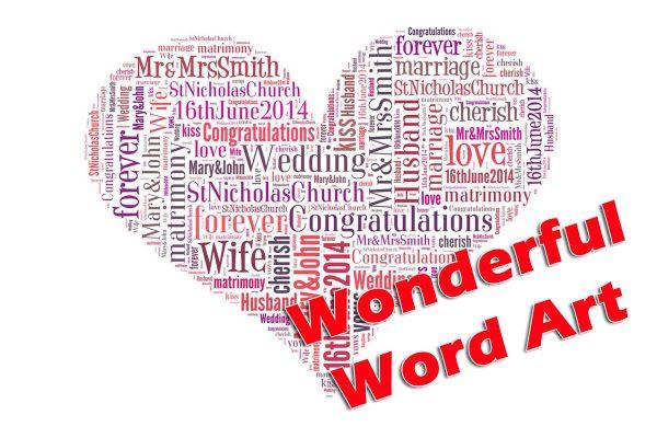 Word art wedding heart