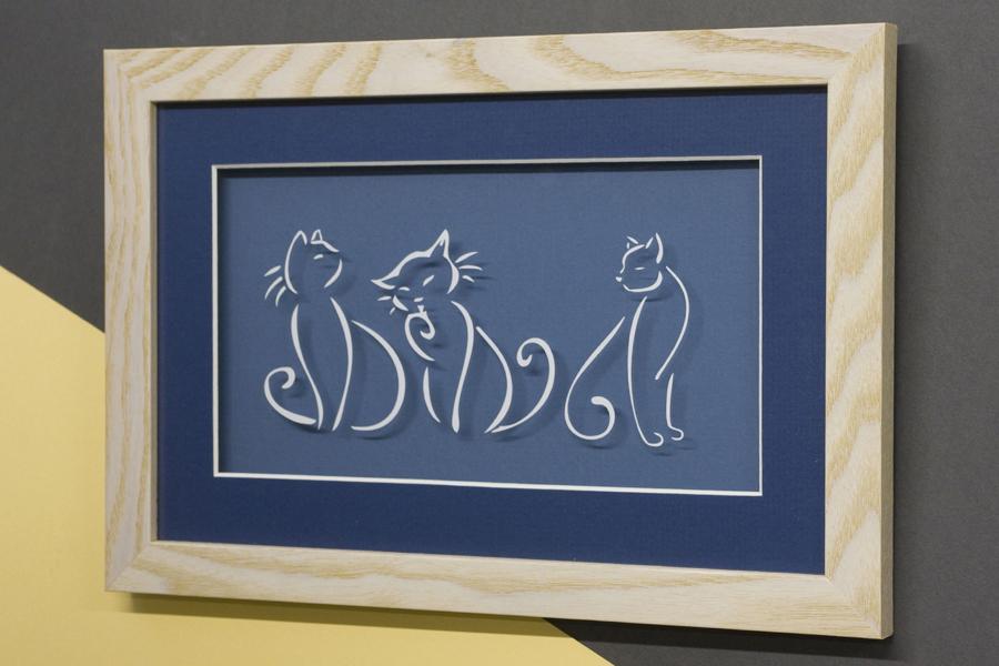 3 cats cut line art